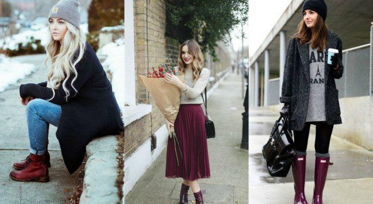 С чем носить сапоги разных цветов?